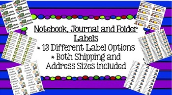 Notebook, Journal and Folder Labels: Both Address and Shipping Size Included!