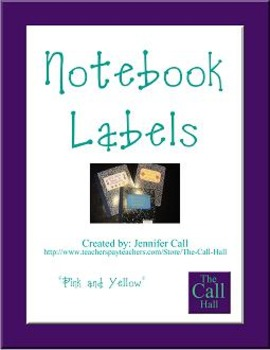 Notebook Labels - Pink with Yellow