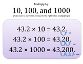 Notebook Multiplying and Dividing by 10, 100, and 100