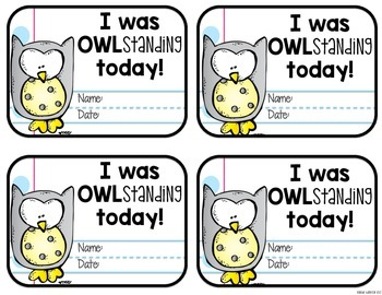 Notebook Neat Room Decor: OWL Behavior Clip Chart