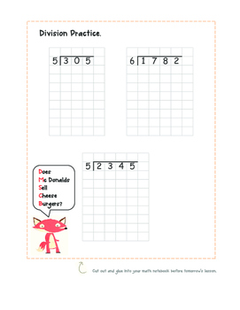 Notebook Page- Dividing Larger Numbers with Remainders- 4.NBT.6