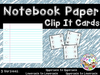 Notebook Paper ABC Clip It Cards-3 Versions