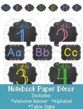 Notebook Paper Classroom Decor