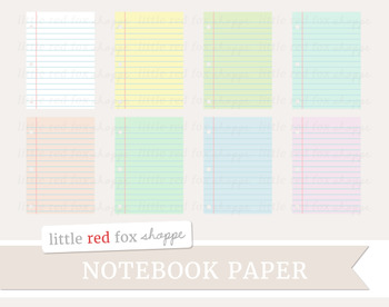 Notebook Paper Clipart; School Supplies