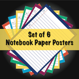 Notebook Paper Posters (Set of 6 - 18'' x 24'')