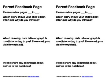 Notebook Parent Feedback Page