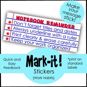 Classroom Management Sticker: Feedback for Organization:  Print on Labels