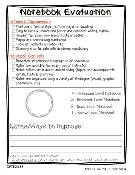 Notebook Rubrics