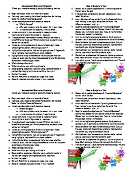 Notebook Self-Evaluation Checklist and How to Study for a Test