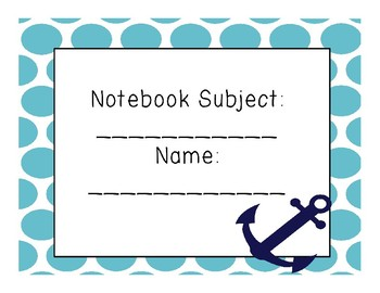 Notebook Subject & Name
