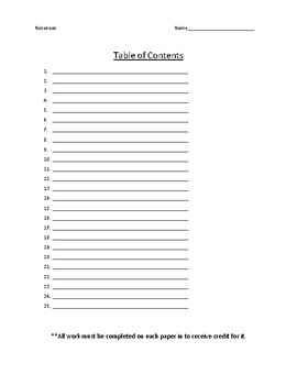 Notebook Table of Contents
