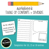 Notebook Table of Contents Dividers