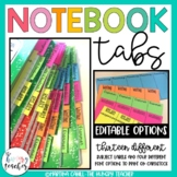 Notebook Tabs to Glue into Notebooks for Student Organization