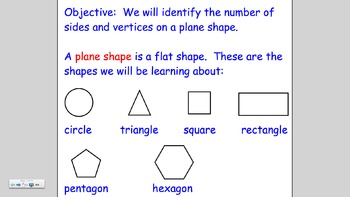 Notebook lesson:  Sorting Plane Shapes by Sides and Vertices