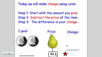 Notebook lesson on Money: Making Change