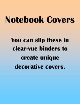 Notebook or Gradebook Covers