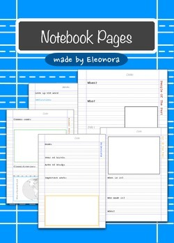 Notebook pages - assorted subjects  - both primary and regular lines