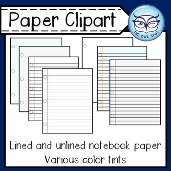 NotebookPaper Clipart: for Personal and Commercial Products