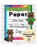 Notebooking Paper - Themed Wide Rule Writing Paper - Groundhog Day