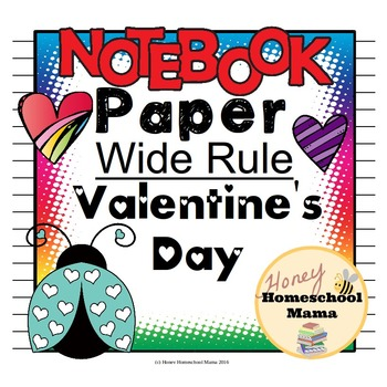 Notebooking Paper - Valentine's Day Themed Wide Rule Pages
