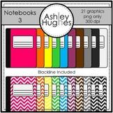 Notebooks 3 Clipart {A Hughes Design}