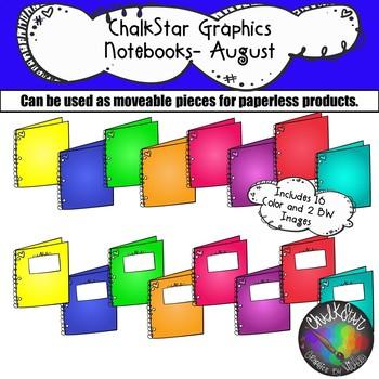Notebooks August Clip Art –Chalkstar Graphics