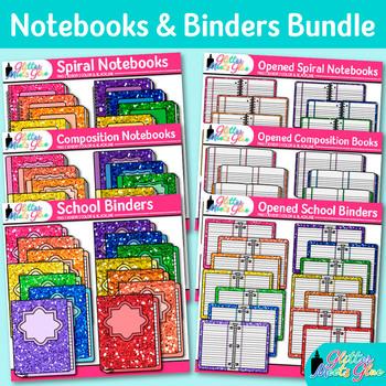 Notebook & Binder Clip Art Bundle {Rainbow Back to School Supplies Clip Art}