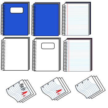 Notebooks, Paper, Pens, Pencils and Eraser Clipart