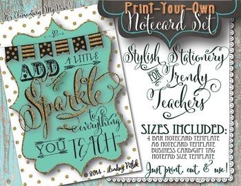 Notecards for Teachers {Printable}: Add a Little Sparkle