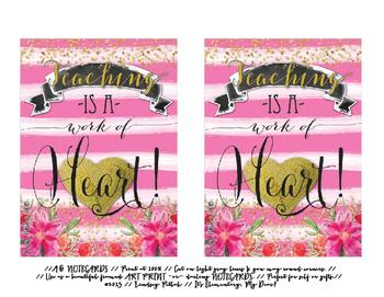 Notecards for Teachers {Printable}: Work of Heart