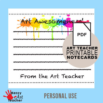 image about Printable Notecard called Printable Notecards For Artwork Instructors as a result of MessyArtTeacher TpT