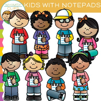 Kids Holding Notepads and Writing Clip Art
