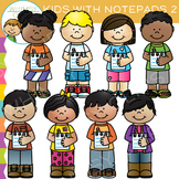Kids with Notepads Clip Art - Set Two