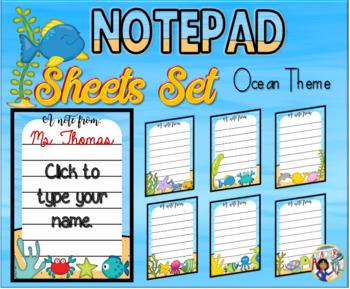 Notepad Sheets Set Ocean Theme  {Editable}