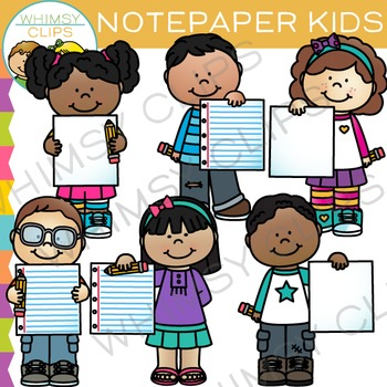 Kids with Paper: Writing Clip Art