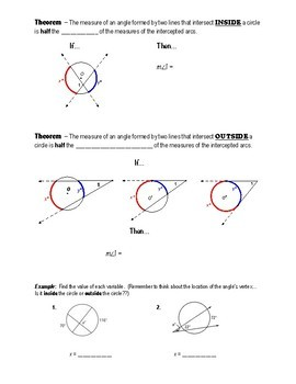 Notes (Circles) - Angle Mesures & Segment Lengths (Part 1)