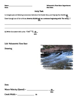 Notes & Classwork on Calculating Volume Flow Rate of a Stream