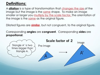 Transformations: Dilations Foldable for Interactive Notebooks PowerPoint