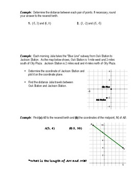 Geometry Notes (Distance & Midpoint) - Distance in the Coordinate Plane