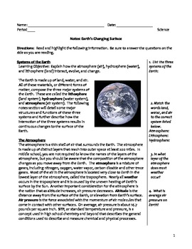 Middle School Earth Science Notes - Earth's Changing Surface
