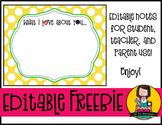 Notes | Editable FREEBIE