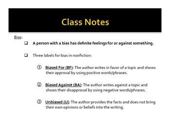 Notes: Facts, Opinions, and Bias