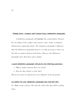Notes for Writing a Compare and Contrast Essay