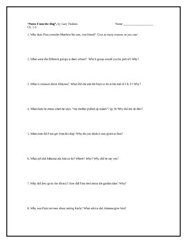 """""""Notes From the Dog"""", by G. Paulsen, Comprehension Questions"""