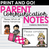Back to School Communication Notes Letters to Parents | Printable Notes Home