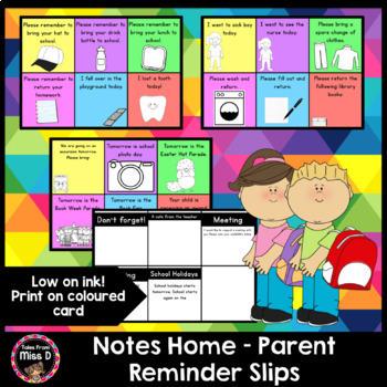 Notes Home Parent Reminder Slips