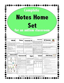 Notes Home Set for an Autism Classroom