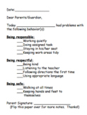 Notes Home for Behavior Plans (Flip-Card Systems)