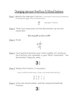Notes: Improper Fractions to Mixed Numebers