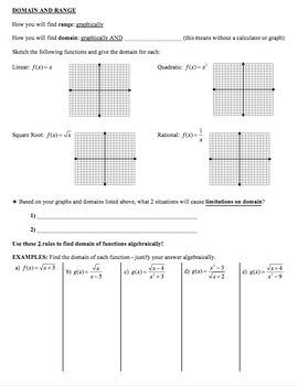 Notes - Interval Notation, Function Notation, Functions, Domain, Range